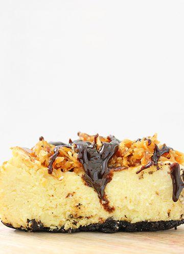 side shot of samoa cheesecake