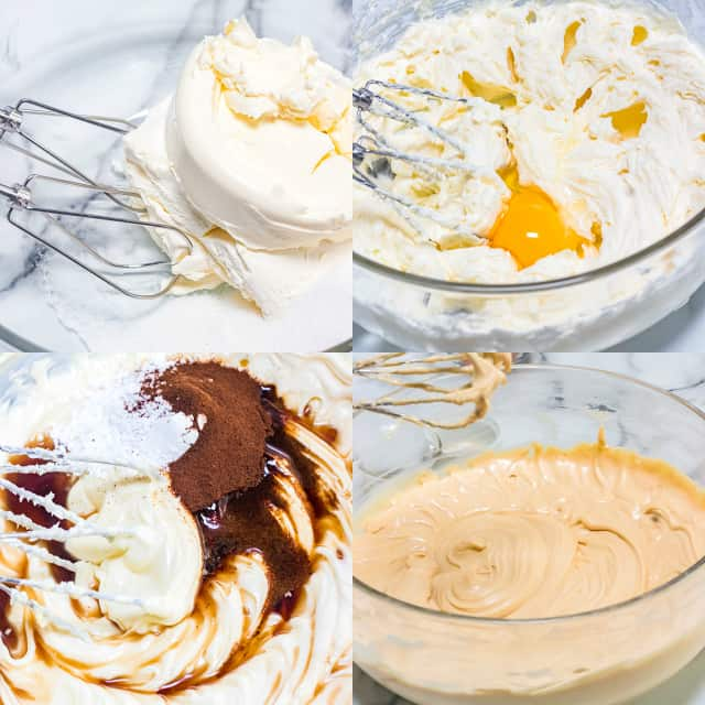 collage of photos on how to make the cheesecake batter