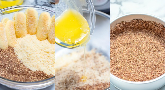 collage of photos showing how to make the ladyfinger crust