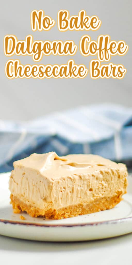 close up image of cheesecake bar with text for pinterest