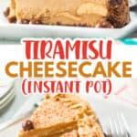 pinterest collage of tiramisu cheesecake with text
