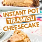 pinterest collage of tiramisu cheesecake with blocks of text