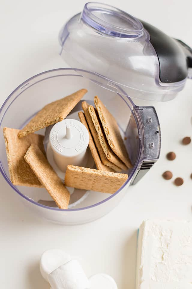 Mini Food Processor with graham crackers in it