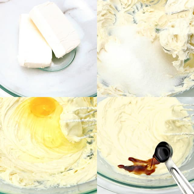collage of step-by-step photos on adding ingredients and mixing cheesecake batter
