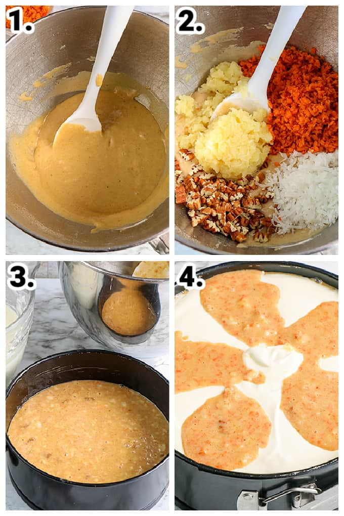 collage on step by step photos of how to make the carrot cake cheesecake