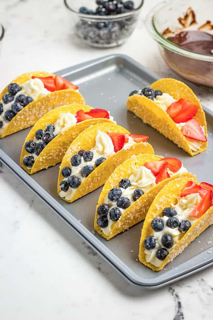 dessert tacos on a baking tray